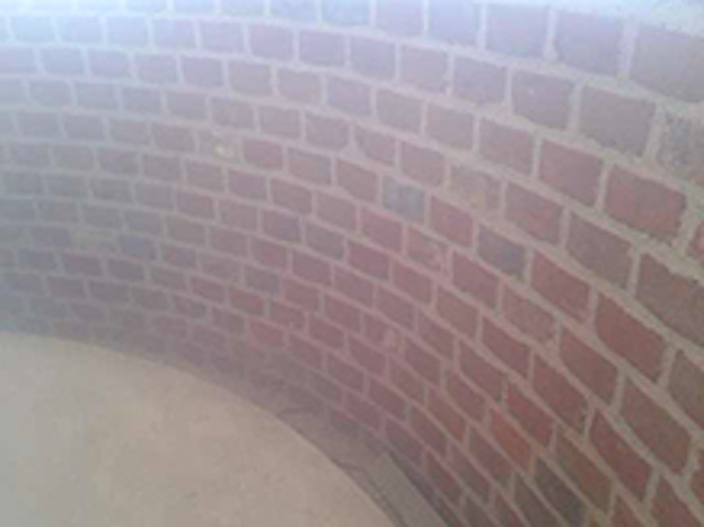 Internal brickwork to semi circle bay
